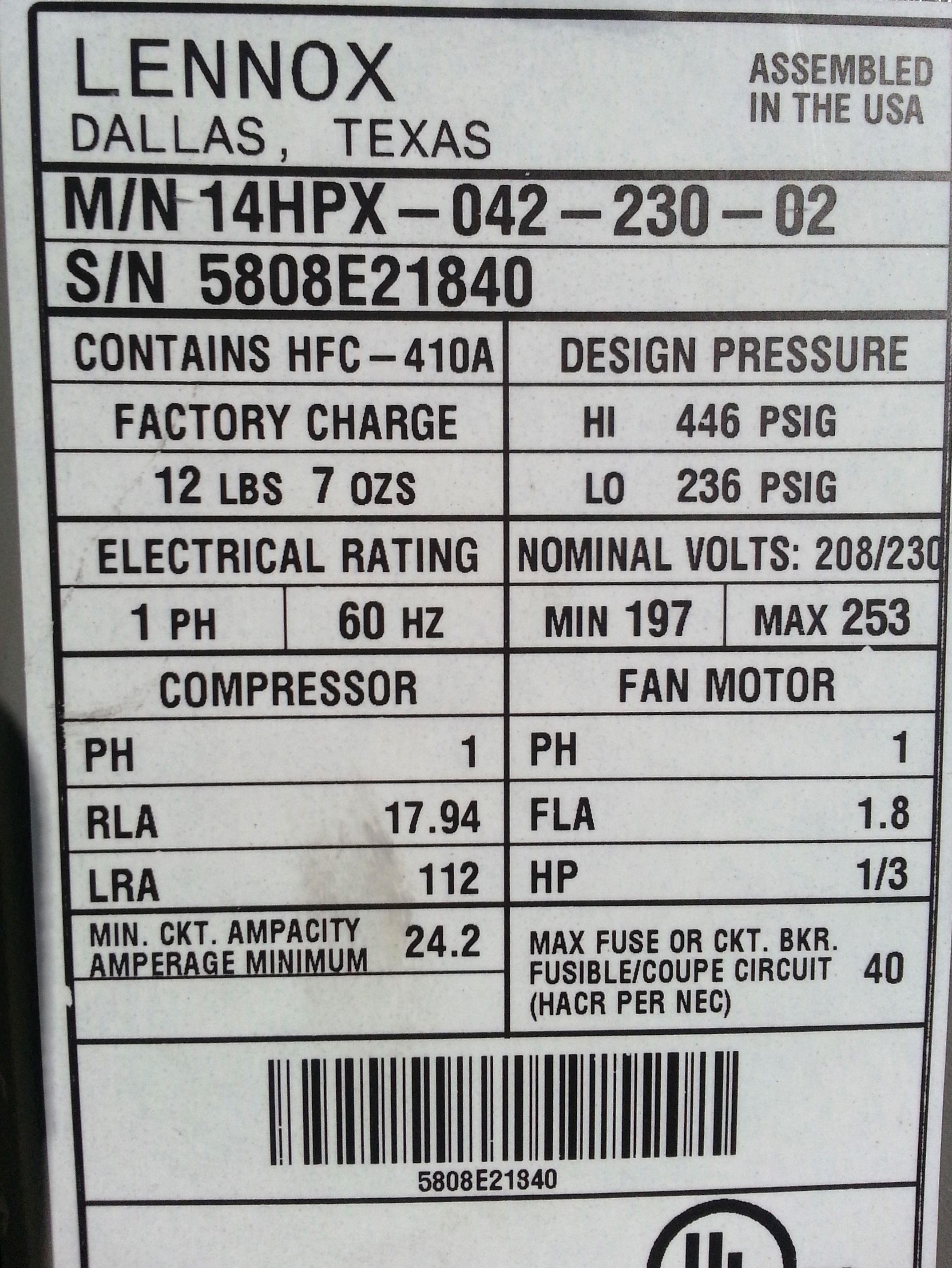 Lennox Info Plate  Freon Capacity